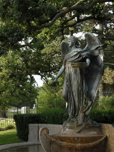 Photographic Print Black Angel Sculpture Council Bluffs Iowa By