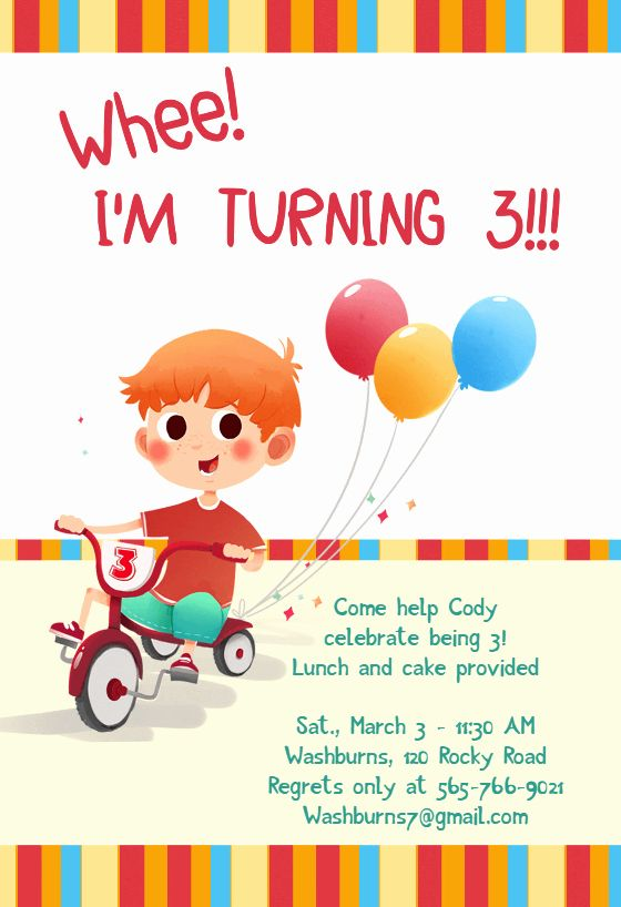 3rd birthday invitation message sample
