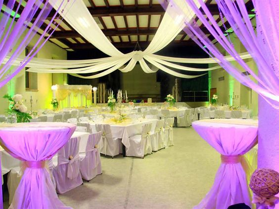 Need ideas for reception hall wall decorations for wedding for Baby shower hall decoration