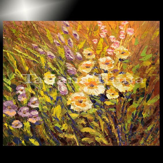 Palette knife painting picture floral garden decor flower art ...
