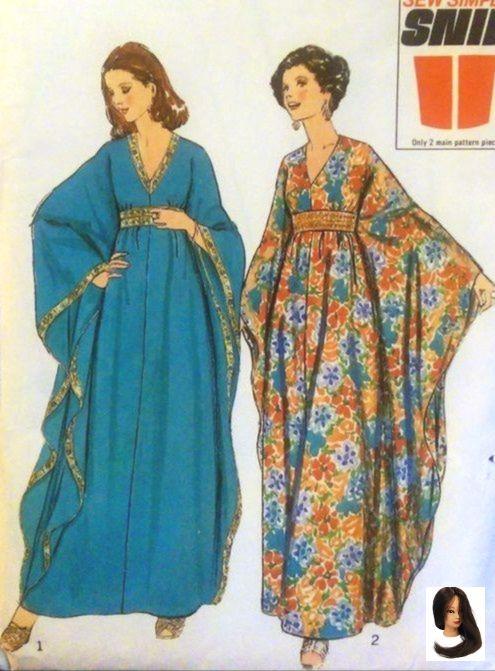 1970er 70s Fashion Dress Hostess Jahre Kaftan Oder Patter