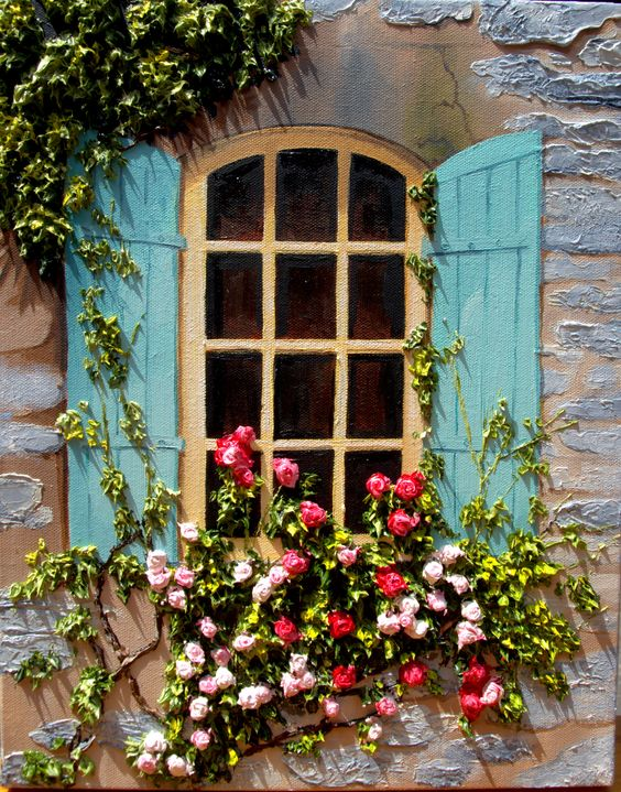 original oil on canvas of a cottage window
