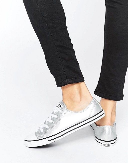 Converse   Converse Chuck Taylor All Star Dainty Silver Metallic Trainers
