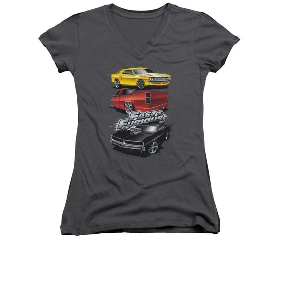 Fast And The Furious - Muscle Car Splatter Junior V-Neck T-Shirt