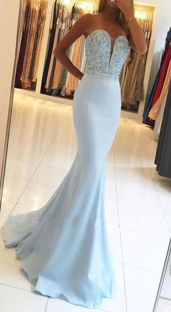 33+ Baby blue fishtail prom dress trends