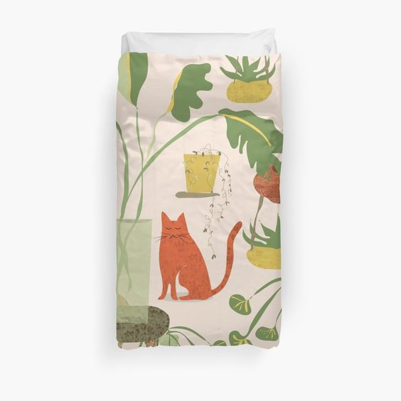 Girl with her plants and the cat – cute, feminine botanical illustration. • Also buy this artwork on home decor, apparel, phone cases, and more.