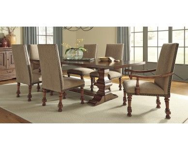 Traditional 7 Piece Dining Set In Light Brown