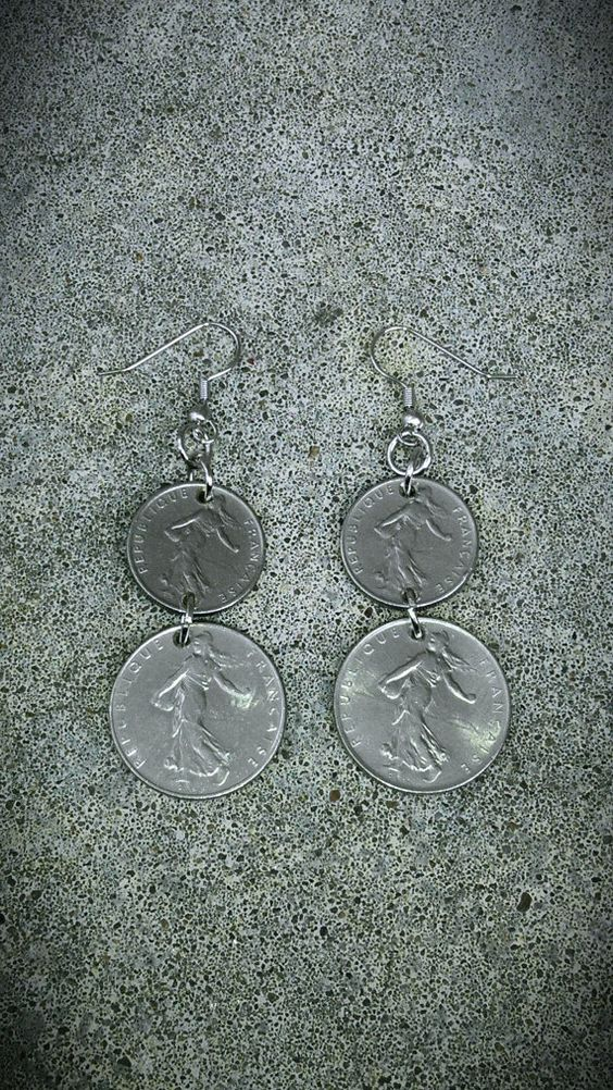VINTAGE EARRINGS Foreign coin money French France by bleustuff1, $5.99