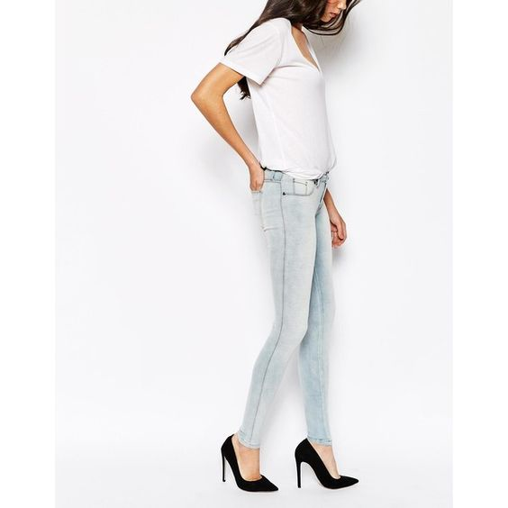 Dr Denim Kissy Super Skinny Jeans ($72) ❤ liked on Polyvore featuring jeans, blue, tall skinny jeans, purple jeans, dr. denim, skinny leg jeans and blue jeans