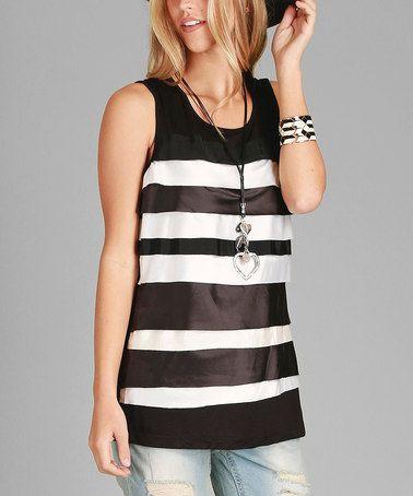 Loving this Black & White Stripe Layered Tank on #zulily! #zulilyfinds