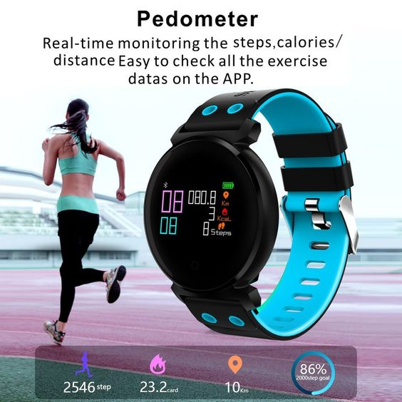 K2 Smart Band Smart Bracelet Smart Watch Heart Rate Blood Oxygen Pressure Sleep Monitor Intelligent Reminder Sports Tracker Call Reject Messages Color Screen Anti-lost - US$35.89 Sales Online blue - Tomtop