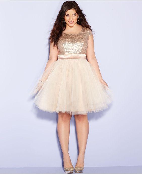 Trixxi Plus Size Dress Cap-Sleeve Sequin Tulle A-Line - Plus Size ...