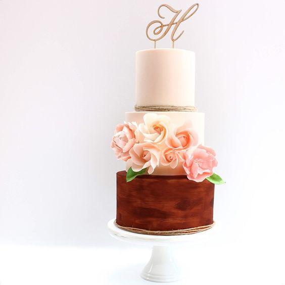 Peach Floral Rustic Wedding Cake