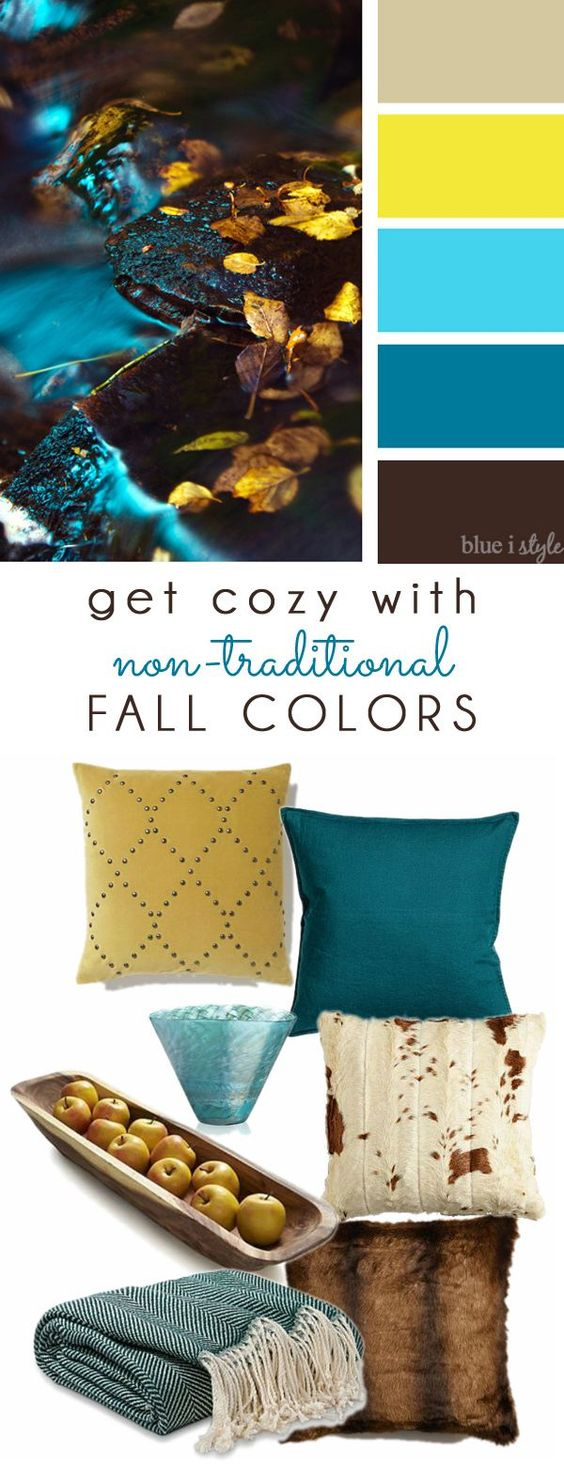 COZY FALL COLORS! A simple mood board to help you bring these non-traditional fall colors of brown, aqua, teal, and yellow into your home decor.: