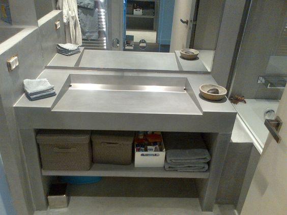 Mueble de lavabo moderno de hormig n de pie b ton l ge concrete by lcda b a t h r o o m s - Beton lcda ...