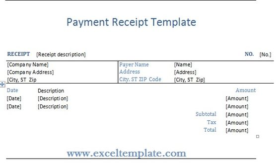 Get Payment Receipt Template ExcelTemple Excel Project - invoice template singapore