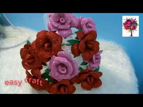 طريقه عمل بوكيه ورد من الفوم Youtube Crafts Easy Crafts Paper Art