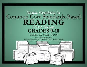 Common Core Standards Graphic Organizers for ELA Reading Literature and Informational Texts Grades 9-10 (35 organizers) Can be used for assessments, as well. {Multi-user license also available} $