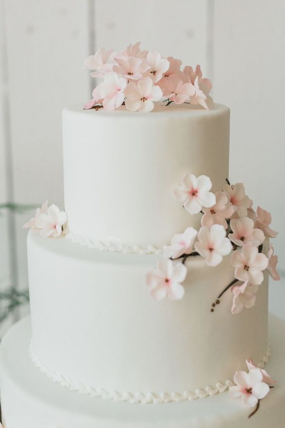 Adorable, simple, elegant cherry blossom cake. Add grey ribbons and/or a grey bow.: