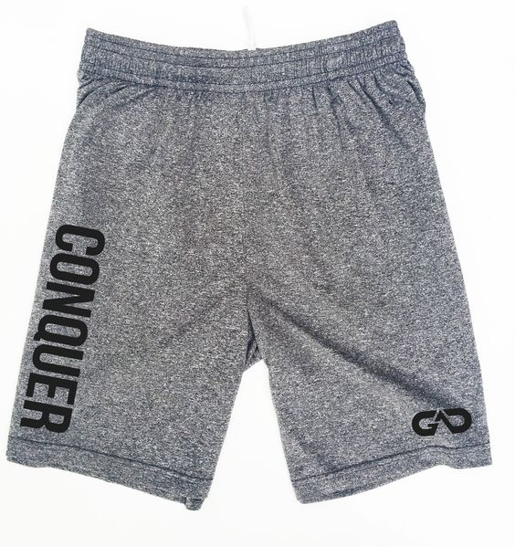 "GO ALL DAY® ""CONQUER"" DRY-FIT Shorts (Heather Grey)"