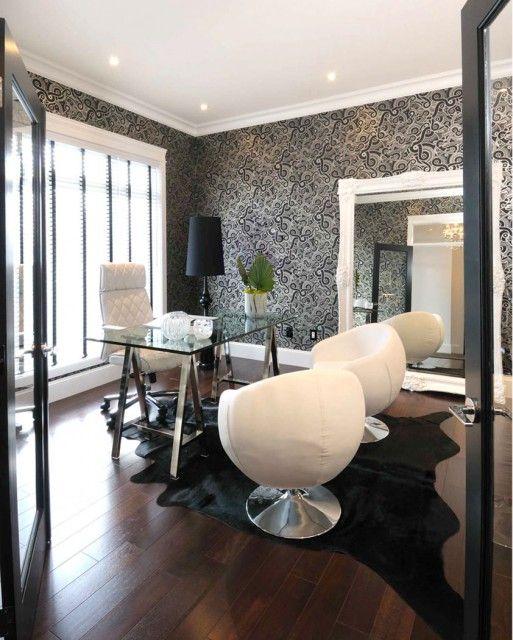 Tremendous White Black Modern Office Design With White Black Wallpaper Largest Home Design Picture Inspirations Pitcheantrous