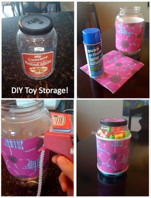 Turn an empty plastic snack container into chic toy storage for your kids craft supplies, blocks, cars, etc.