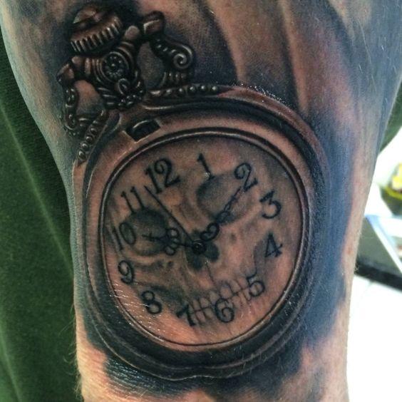 Taschenuhr mit totenkopf tattoo  Skull Pocket Watch Tattoo | Tattoos and artwork | Pinterest