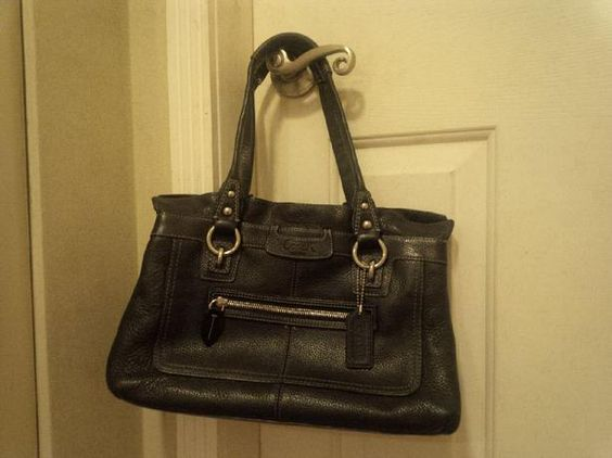 black coach shoulder purse with silver hardware - Google Search