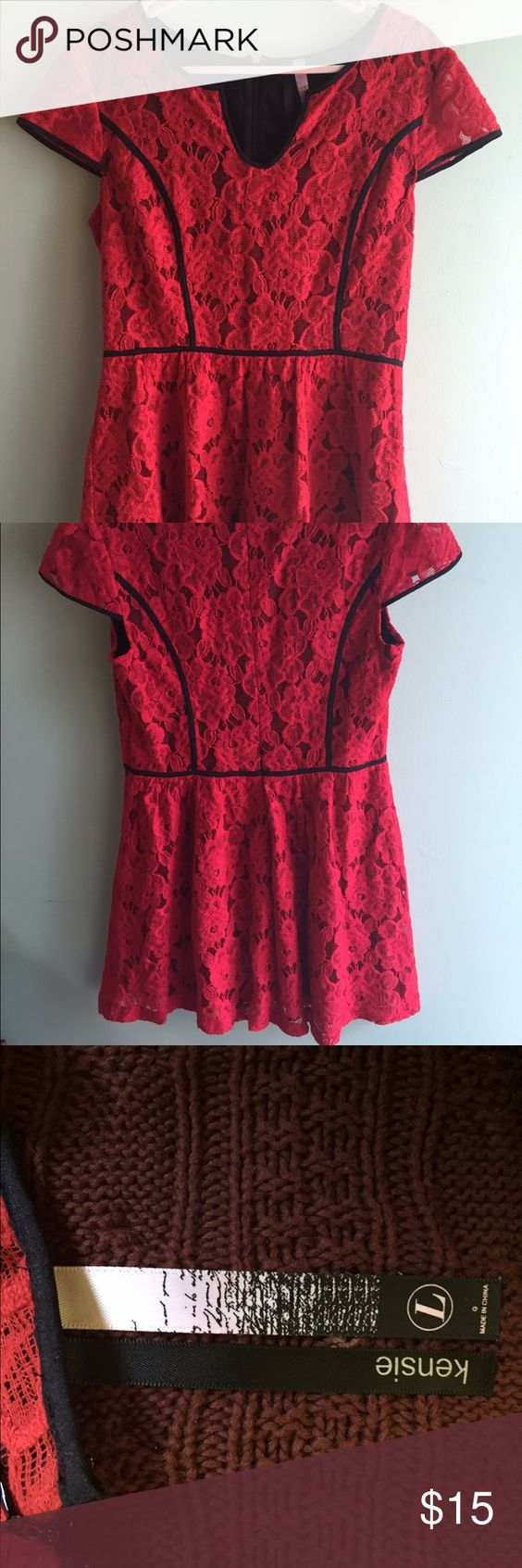 Red Lace Dress Very cute red lace dress. It is in great condition. Lmk if you have any questions. No PP. Willing to negotiate price. Kensie Dresses