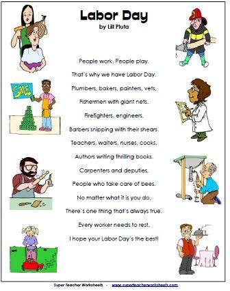 Labor Day Poem on Super Teacher Worksheets
