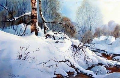 "Aud Rye, Winterscene, 15"" x 22"" (38cm x 56cm), watercolor"