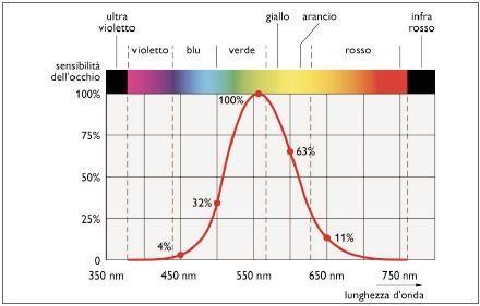Figura1. Spettro visibile e curva CIE 1931 di risposta dell'occhio umano alla luce diurna.
