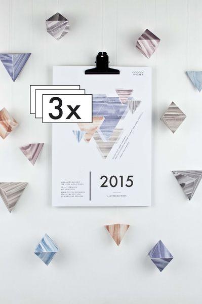 "3er Pack - Kalender 2015 – ""Geometrie"" 3er Pack von HINZHEJ auf DaWanda.com"