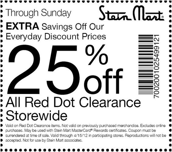 Save 25% at Stein Mart! #coupon