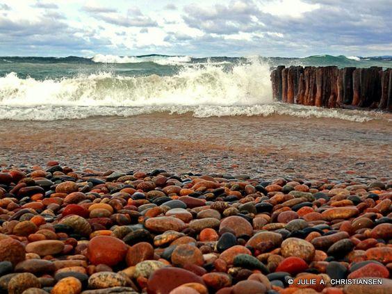 Rocks on beach along lake superior whitefish point for White fish point