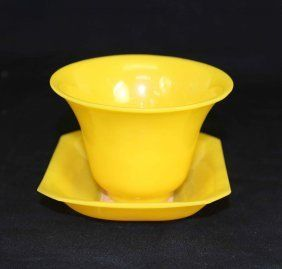 A Set Chinese Empire Yellow Peking Glass Cups And Plate