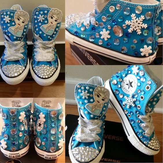 Do you have a walking Frozen fan? Well these jeweled out converse will be the perfect thing to add that peep to their step! These shoes star off as: