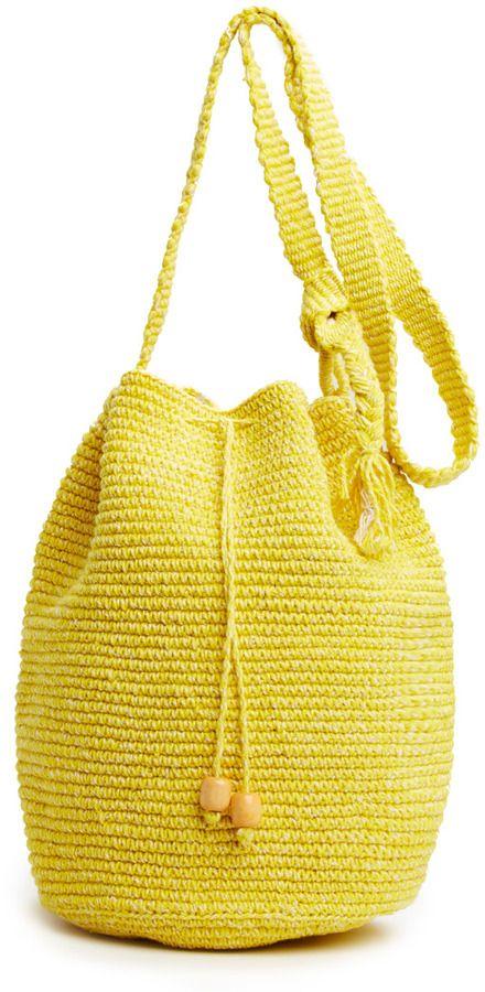 Stela 9 Crochet Beach Bag in yellow on shopstyle.com