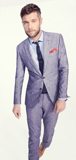 Spring/Summer wedding suit, JCrew Ludlow suit in Japanese Chambray