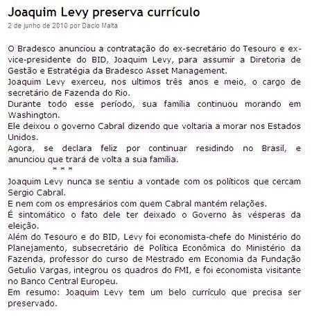 Blog do Garotinho - Joaquim Levy não quis se sujar por Cabral