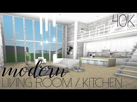 Roblox Welcome To Bloxburg Modern Living Room Kitchen 40k Youtube Living Room Design Blue Tiny House Layout Aesthetic Bedroom