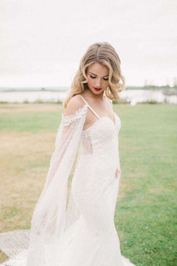 Lace Mermaid Wedding Dress with Sleeve Cape (#Aceline)