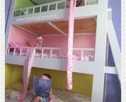Kids Room. . Three Level White Painted Wooden Buy Bunk Beds Has Small Railings Completed With Green Pink And Yellow Nuance