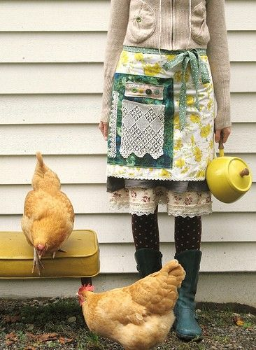 apron and chickens