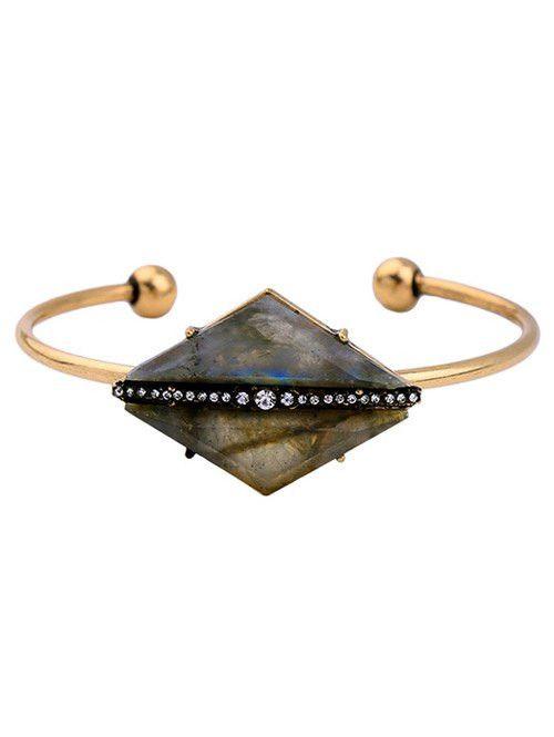 #fashion #accessories Rhinestone Rhombus Stone Cuff Bracelet   Golden by Moda Tendone - Bracelets Accessories, Bracelets, Fashionable, Golden, Jewelry, Women