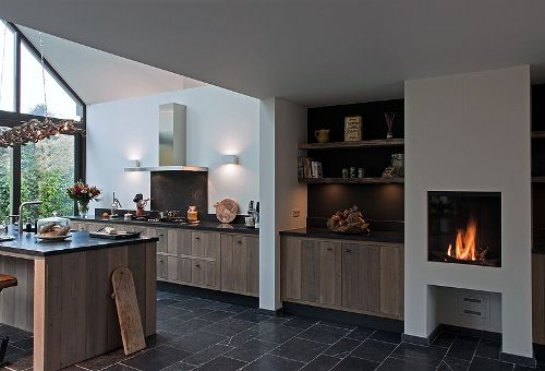 Tussen keuken en openhaard voor koffie eettafel voor openhaard d co pinterest open - Deco lounge open keuken ...
