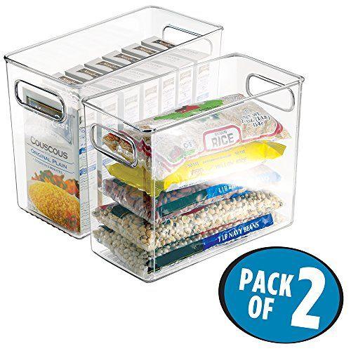 Mdesign Refrigerator Freezer Pantry Cabinet Organizer Bins For Kitchen 10 X 5 X 8 Pack Of 2 Clear Best Offer Kitchen Containers Kitchen Pantry Cabinets Refrigerator Organization