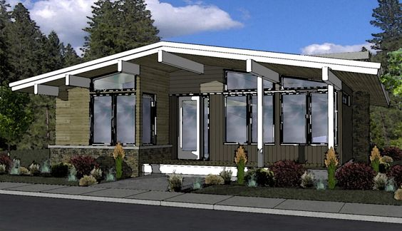 mid century modern - soon to be built in NW crossing. Will keep my eye on it. May want to modify to 2 bedrooms, approx 1100 sq ft