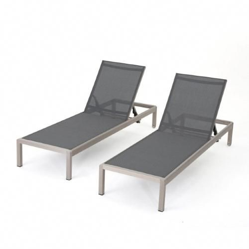 Coral Bay Outdoor Mesh Chaise Lounge Set Of 2 Dark Grey Dark Grey And Silver Uniquedivingboard Outdoor Chaise Lounge Outdoor Chaise Pool Chaise Lounge