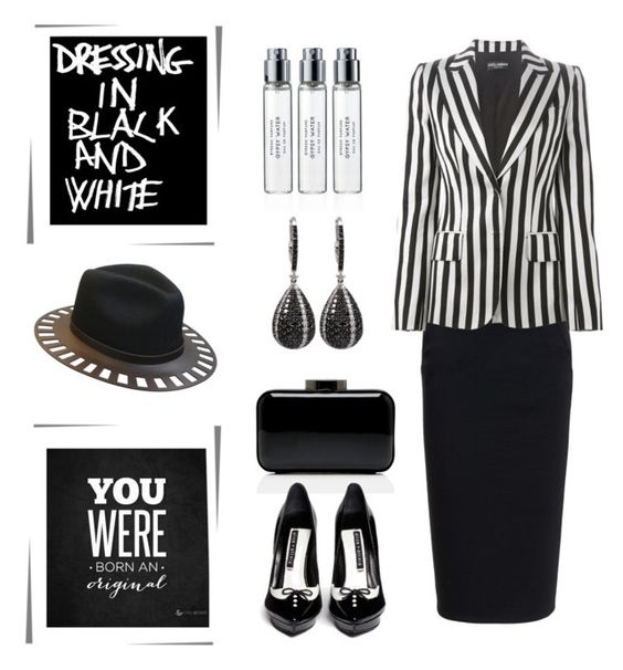 """Dressing In Black & White.... You Were Born An Original "" by conch-lady ❤ liked on Polyvore featuring Rick Owens, Dolce&Gabbana, The Season Hats, Lulu Guinness, Alice + Olivia and Byredo"